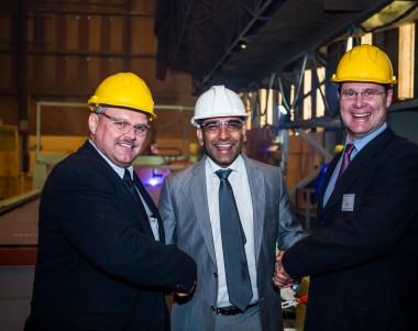 From left: Theo Jooste (operations manager: Industrial and Rental, Barloworld Power); Prasheen Maharaj (CEO: Southern African Shipyards); and Wynand van Zyl (operations manager: Marine, Oil & Gas - Offshore, Barloworld Power).